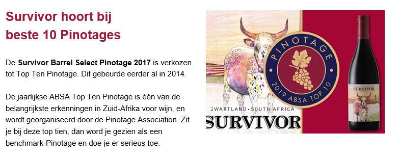 Survivor Pinotage In De TOP 10!